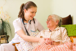 Choose the appropriate level of care for the patient (skilled nursing, therapy, or caretaker)